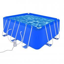 Swimming Pool With Pump Steel 400 X 207 X 122 Cm