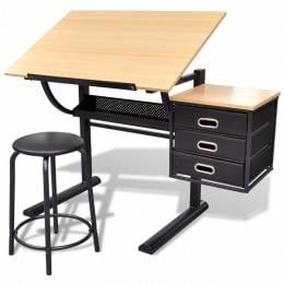 Three Drawers Drawing Table With Stool