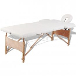 Cream White Foldable Massage Table 2 Zones With Wooden Frame