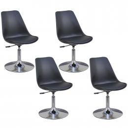 Swivel Dining Chairs 4 Pcs Black Faux Leather
