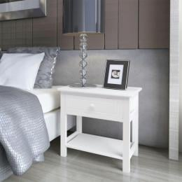 Bedside Cabinet Wood White