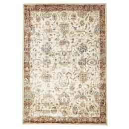 Tuskany Stunning Designer Rectangular Floor Rug Ivory Rust