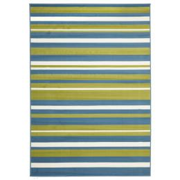 Modern Striped Blue Green Reactangular Floor Rug