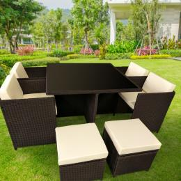 9pc PE Rattan Cube Dining Garden Outdoor Furniture Set - Brown