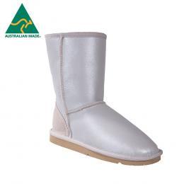Classic Short Aqua Fleece Ugg Boots - White Pearl