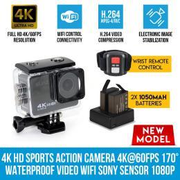 Elinz 4k Hd Sports Action Camera 170 Waterproof Video Wifi Sony Sensor