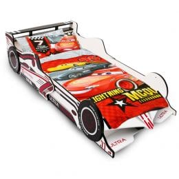 Kids Single Size Wooden Racing Car Bed Frame White