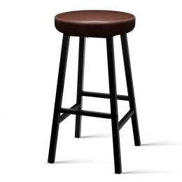 2 x Vintage Kitchen Bar Stools Industrial Leather Brown Retro