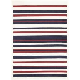 Modern Stripes Rectangular Floor Rug Blue Red White