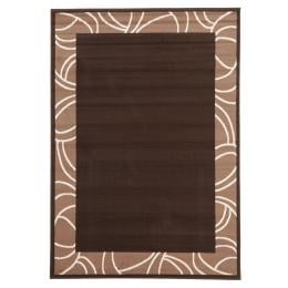 Modern Border Rectangular Floor Rug - Brown