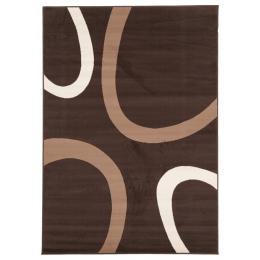 Uber Cool Cream And Brown Swish Rectangular Floor Rug