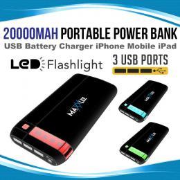 Maxxlee 20000mah Power Bank Portable Usb External Battery Charger