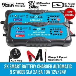 Maxxlee 2x Smart Battery Charger Automatic 9 Stages