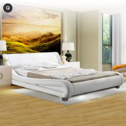 Queen Size Faux Leather Curved Bed Frame - White