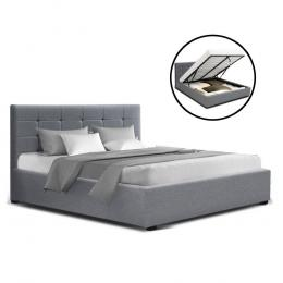 LISA Double Full Size Gas Lift Bed Frame  With Storage Mattress Grey