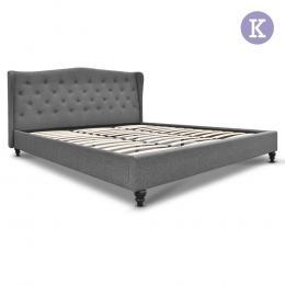 Artiss King Size Wooden Upholstered Bed Frame Headborad - Grey
