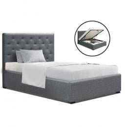 VILA King Single Size Gas Lift Bed Frame  With Storage Mattress Grey