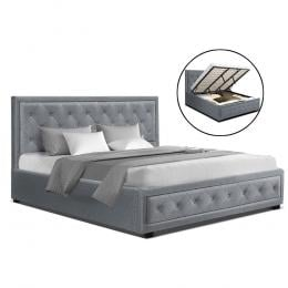 King Size Gas Lift Bed Frame Base With Storage Mattress Grey Fabric