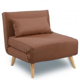 Sarantino Adjustable Corner Sofa Lounge Linen Bed Seat - Brown