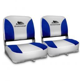 Set of 2 Swivel Folding Boat Seats - Grey & Blue