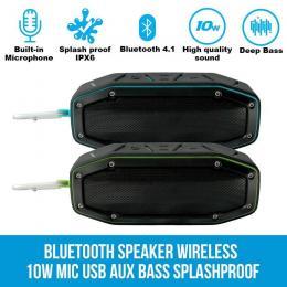 Elinz Bluetooth Speaker Wireless 10w Portable Splashproof Outdoor Blue