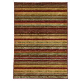Rustic Stripe Stripped Rectangular floor Rug - Red