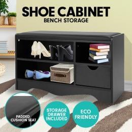 Shoe Rack Cabinet Organiser Black Cushion - 80 x 30 x 45 - Black