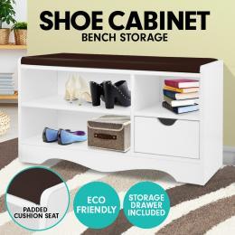 Shoe Rack Cabinet Organiser Brown Cushion - 80 x 30 x 45 - White