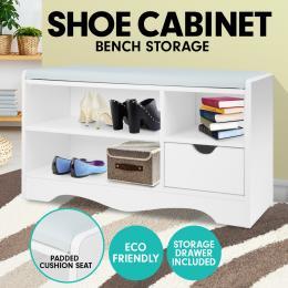 Shoe Rack Cabinet Organiser Grey Cushion - 80 x 30 x 45 - White