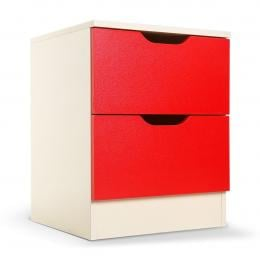Sarantino Bedside Table with Drawers Cabinet Storage 51x40cm White Red