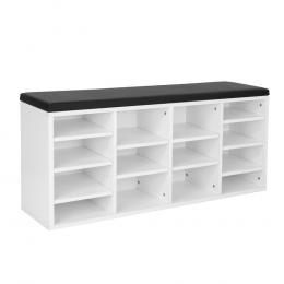 Wooden Shoe Rack Cabinet Organiser - 104 x 30 x 48 - White