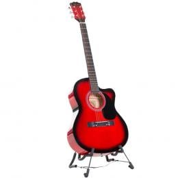 Karrera 38in Pro Cutaway Acoustic Guitar with guitar bag - Red Burst