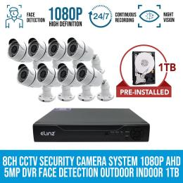 Elinz 8ch Cctv Security 8x Cameras System 1080p Dvr Face Detection 1tb