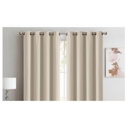 2x 100% Blockout Curtains Panels 3 Layers Eyelet Beige 240x230cm