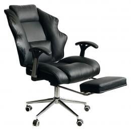 Faux Leather High Back Reclining Executive Office Chair w/ Stool Black