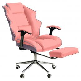 Faux Leather High Back Reclining Executive Office Chair w/ Stool Pink