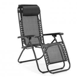 Zero Gravity Reclining Deck Chair - Black