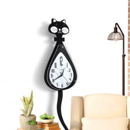 Chic Cartoon Cat Wall Clock With Shake Tail