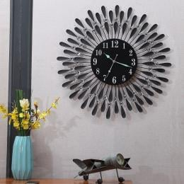 Large Glow-in-dark Crystal Round Dial Wall Clock