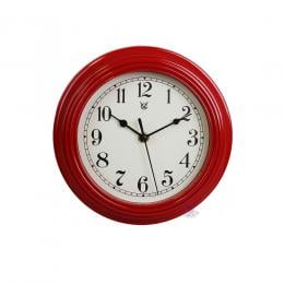 9in Ripple Frame Plastic Wall Clock - Red