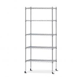 90cm 5 Tier Metal Wire Rack Shelving Storage Shelves Racks Silver