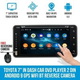 Elinz Toyota 7In Dash Car Dvd Player 2 Din Android 9 Gps Wifi Bt