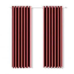 2 Pcs 180x213 cm Blockout Curtains with 3 Layers in Burgundy Colour