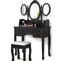 Levede Dressing Table Stool Mirror Drawer Cabinet Jewellery Organizer