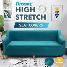 Green 3 Seater Plush Stretch Sofa Cover