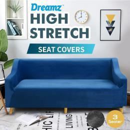 Navy 2 Seater Plush Stretch Sofa Cover