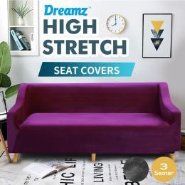 Wine 3 Seater Plush Stretch Sofa Cover