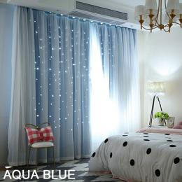 Single Panel Star Blockout Curtain Pure Fabric In Blue 140x213cm