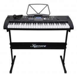 Karrera 61 Keys Electronic Keyboard Piano with Stand - Black