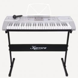 Karrera 61 Keys Electronic Keyboard Piano with Stand - Silver